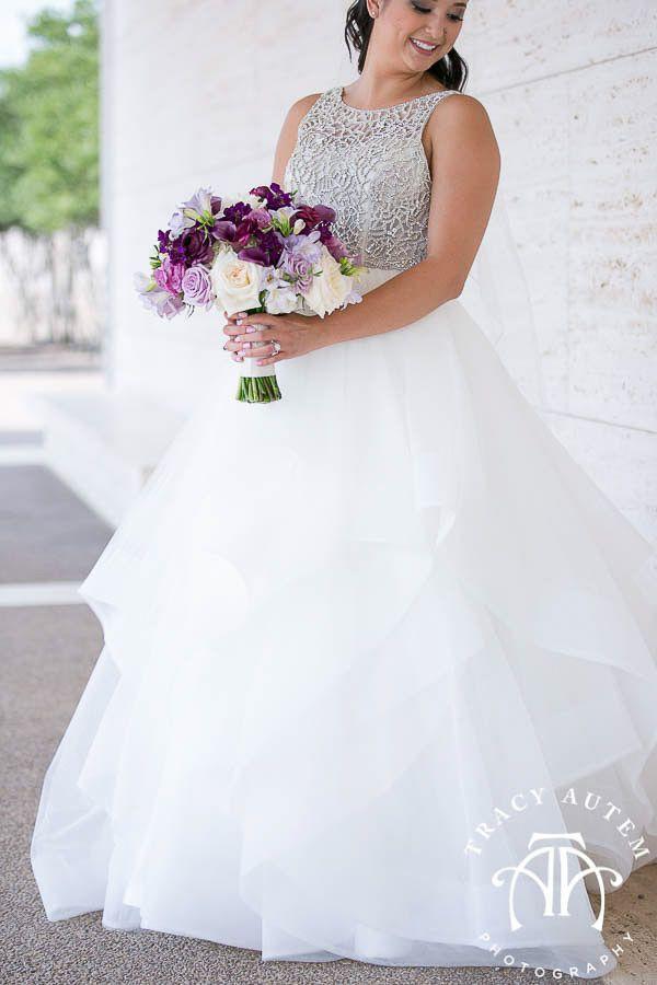 Downtown Omni Hotel - Fort Worth, TX, Nature, Enchanted, Bridal, bride, ballgown, tulle, dress, veil, bouquet, flowers, floral, purple, lavender, weddings, Dress, Romantic, Elegant, Beautiful, outside,  Photographed by Tracy Autem Photography DFW photographers  Tracyautem.com