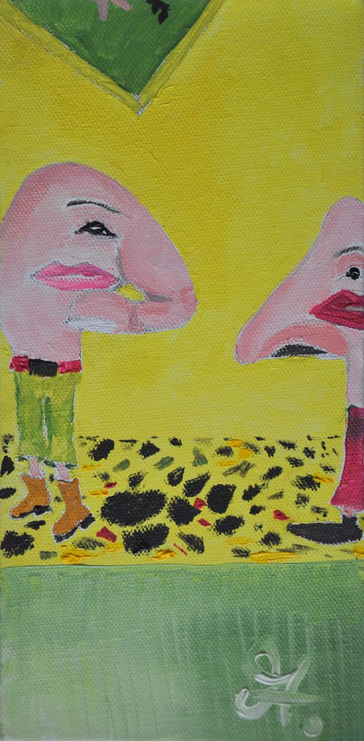 Mr Finger Point and Mr Nosey when pointing fingers and putting ones nose into things - which aren't our concern - That's how we will look like Oil on Canvas  ©MiroAtlamechoTomarkin