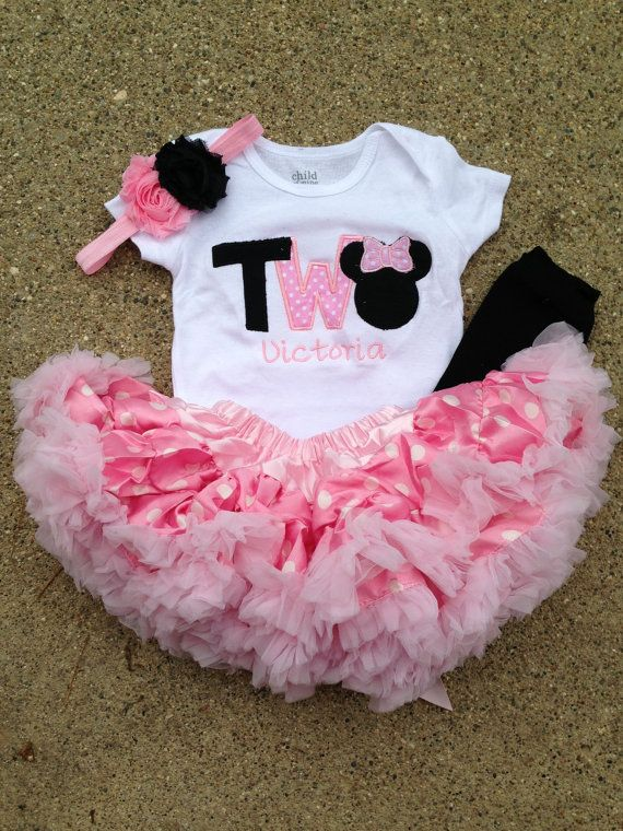 Pink and black minnie mouse birthday outfit - 2nd birthday shirt petti skirt and headband - custom birthday shirt
