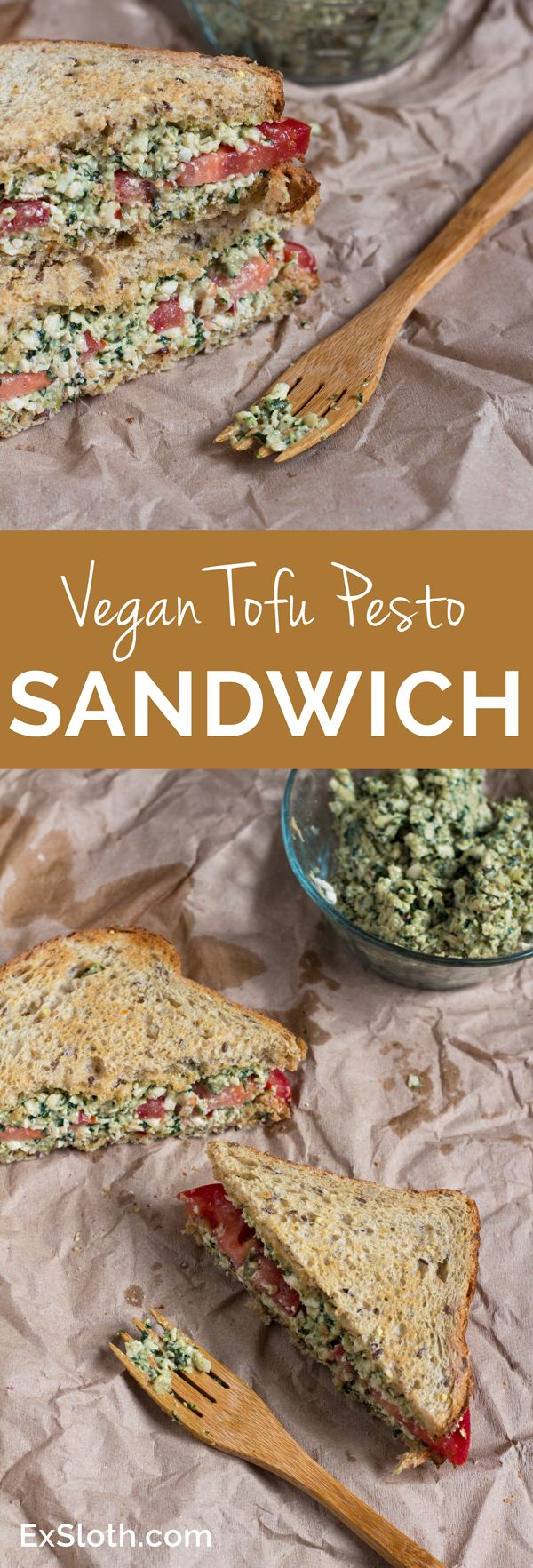 Vegan Tofu Pesto Sandwich via @ExSloth   ExSloth.com