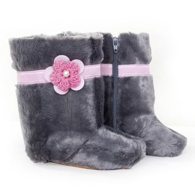 MYANG | Shoes | Accessories | Baby Linen l M0027 - Grey Fur with Pink Flower