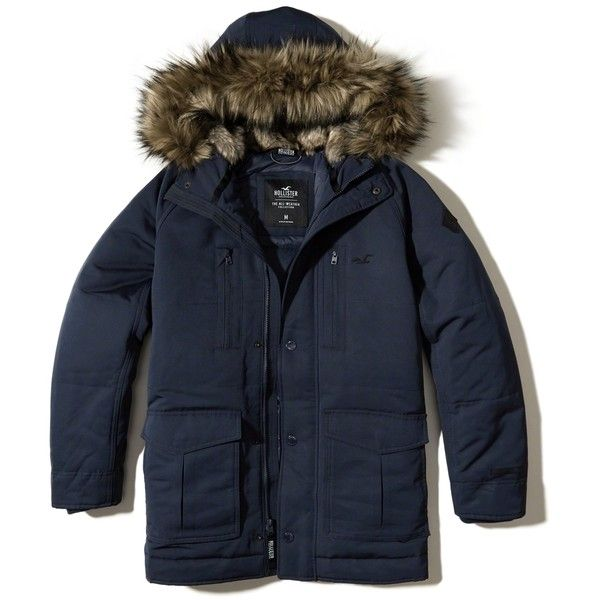 Hollister Nylon Down Parka ($200) ❤ liked on Polyvore featuring men's fashion, men's clothing, men's outerwear, men's coats, navy, mens parka coats and mens hooded coats