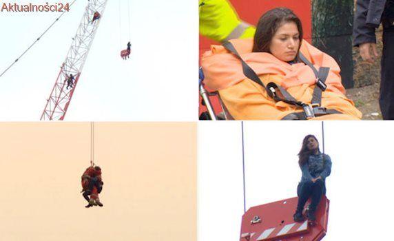 Siedziała na dźwigu, 40 metrów nad ziemią. Na pomoc pospieszyli strażacy