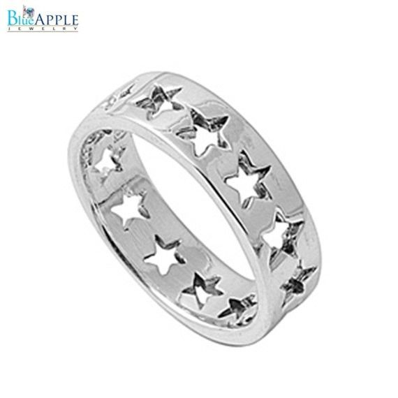 Continuous Night Stars Happy Winner Band Ring Solid 925 Sterling Silver Plain Simple 6mm Band Winner Band Ring Size 4-16