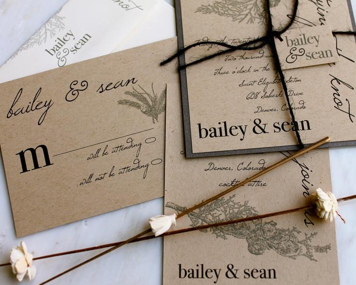 Environmentally Friendly Wedding Invitations: Eco-Friendly Rustic Wedding Invitations