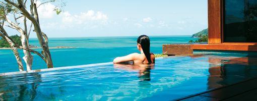Windward Pavilion lounge overlooking the Coral Sea at qualia.  Whitsundays, Queensland, Australia