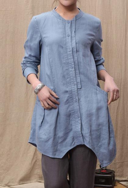 Linen Irregular single breasted long shirt by MaLieb on Etsy, $89.00