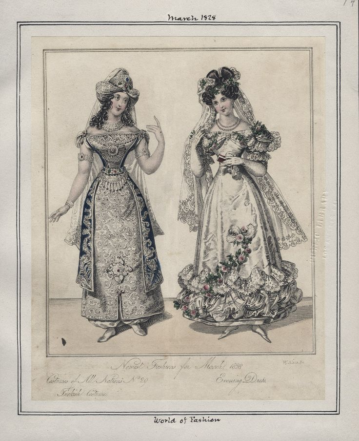 """1828 fashion plate from """"World of Fashion"""" via Los Angeles Public Library 