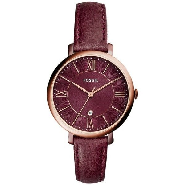 Fossil Ladies Jacqueline Leather Watch Bordeaux in red, Watches (3041915 BYR) ❤ liked on Polyvore featuring jewelry, watches, red, fossil watches, red dial watches, analog wrist watch, vintage wristwatches and fossil wrist watch