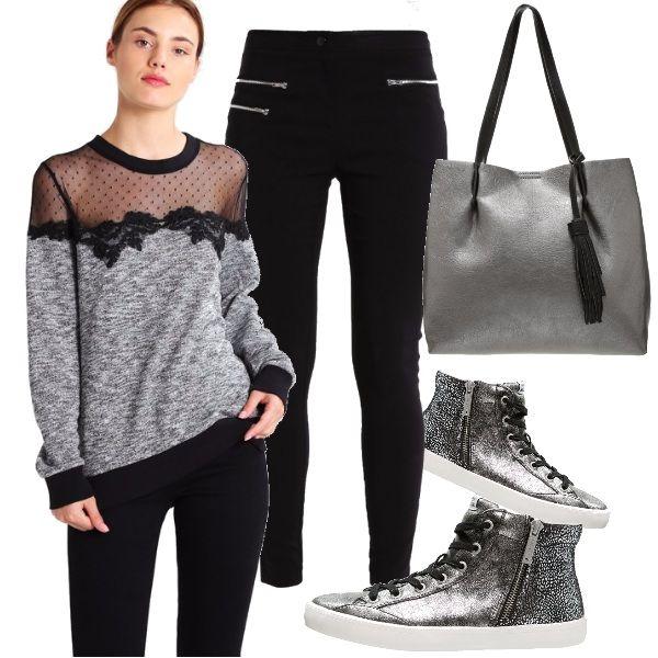 Il grigio e il nero sono i due colori protagonisti di questo outfit adatto per essere indossato tutti i giorni, per il tempo libero, per lo shopping ma vediamolo subito: maglioncino sexy che lascia trasparire le spalle, in abbinamento dei pantaloni elasticizzati neri, sneakers argentate e borsa shopping in tono.