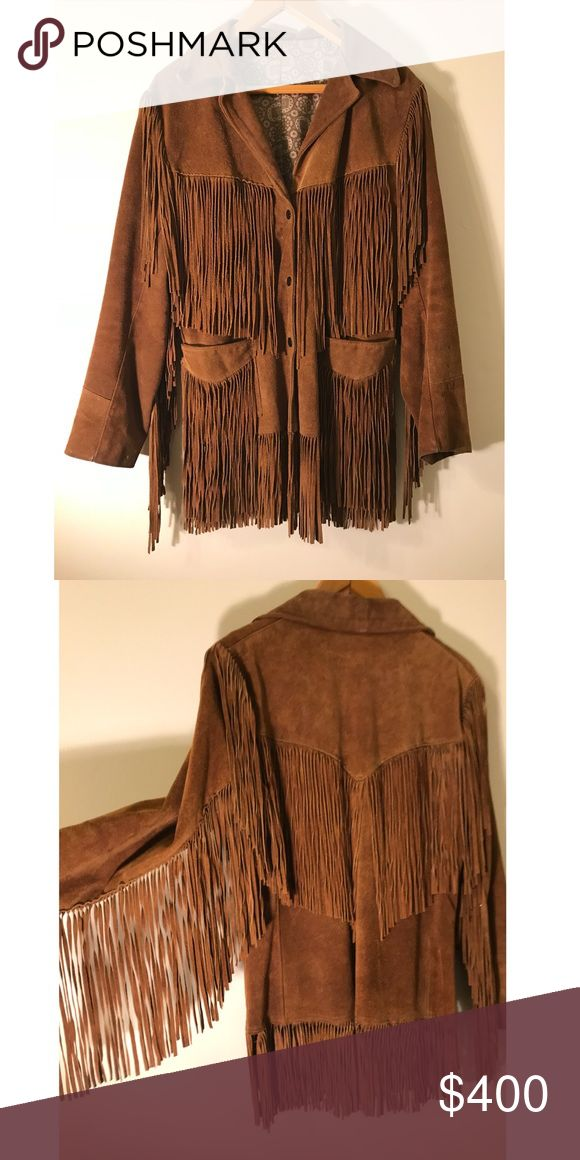 1970's Leather Suede Fringe Coat In perfect condition.  Women's Size Small Vintage Jackets & Coats