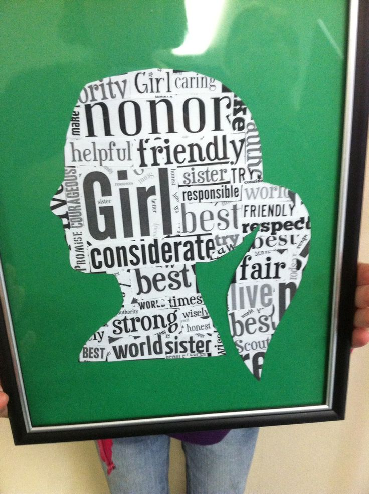 Girl silhouette with word art. Would be a cool way to revisit Girl Scout Promise & Law.