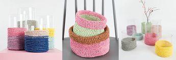 Yarnplaza: Free crochet S/M/L basket pattern in English, Dutch and German.