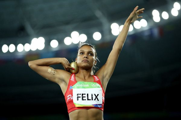 Alysbeth Felix of Puerto Rico competes in the Women's Heptathlon Shot Put on Day…
