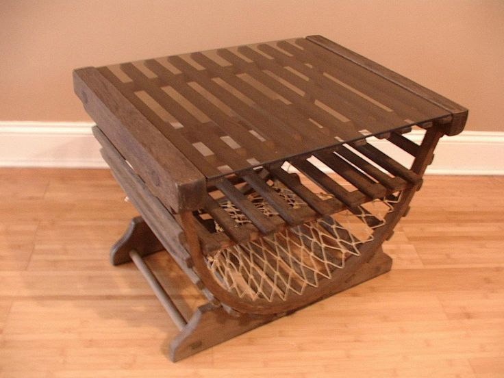 Lobster Trap Table Side Table Coffee Table Vintage Handcrafted Glass Top  Wood Dovetail Joints Nautical New England