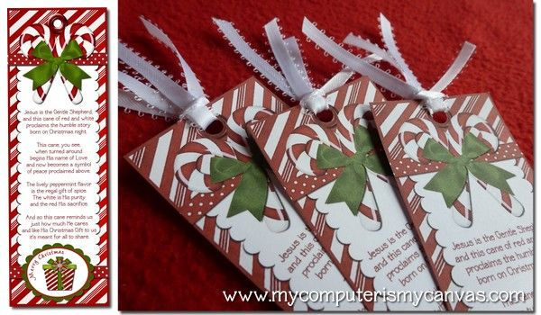 Legend of the candy cane book mark with candy cane.  Fun christmas gift idea.