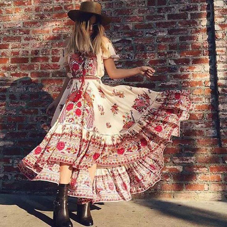 2017 женщин богемный пляж dress sexy retro dress с плеча цветочный печати длинные платья макси плиссированные boho chic dress купить на AliExpress