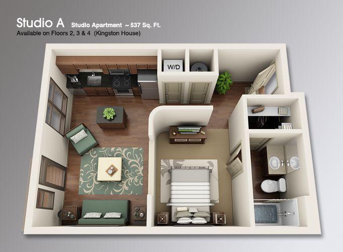 1 Bedroom Apartment Floor Plans 3d 27 best 3d floor plans images on pinterest | architecture, studio