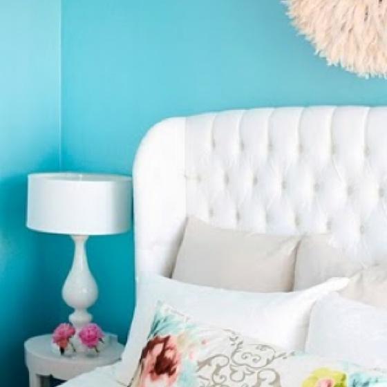 Aqua blue & white