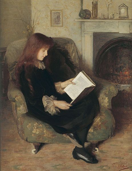 "A young reader settles in by the fireplace with her book. ""Inseparables"" painted by Florence Fuller."
