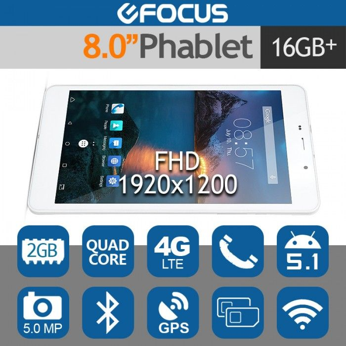 """CUBE T8U 8.0"""" FHD Dual 4G LTE Android 5.1 Tablet Phablet 2G/16G 5MP"""