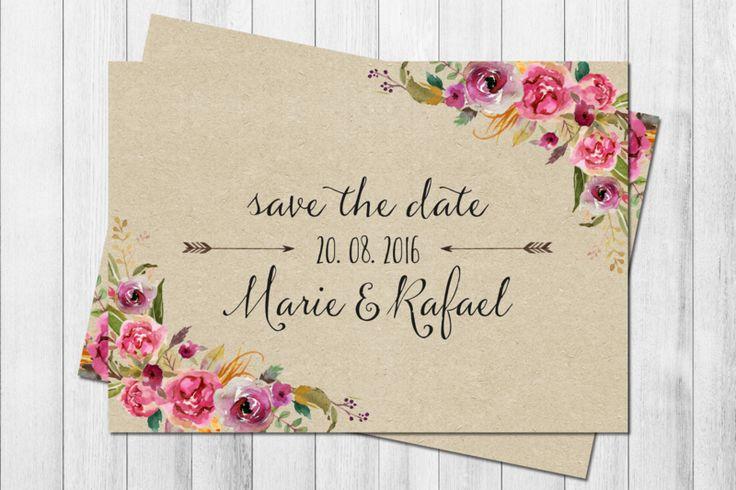WILD LOVE KRAFT 50x Save the date Karten Boho  von Wild Child Wedding auf DaWanda.com
