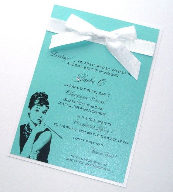 Bridal Shower Invites on Etsy - Breakfast at Tiffany's style <3  I want to make these!!