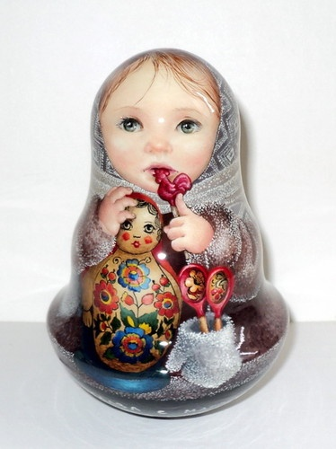 1 Kind Painting Art Roly Poly Russian Girl Yaroslava Matryoshka Nesting Doll | eBay