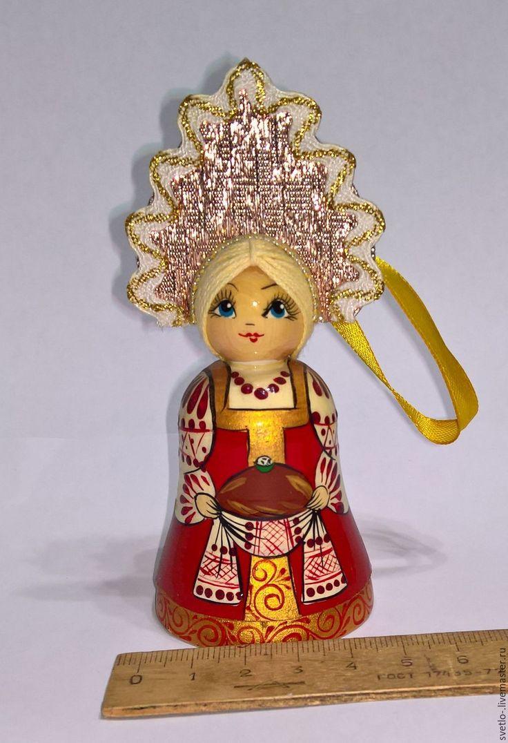 Купить Русская красавица - деревянный колокольчик - комбинированный, колокольчик, деревянный колокольчик, девушка, русская красавица