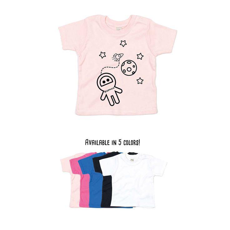 Baby astronaut shirt, personalized shirt, name shirt, space shirt, customizable shirt, rocket shirt, moon shirt, space ship shirt, stars tee by KMLeonBE on Etsy