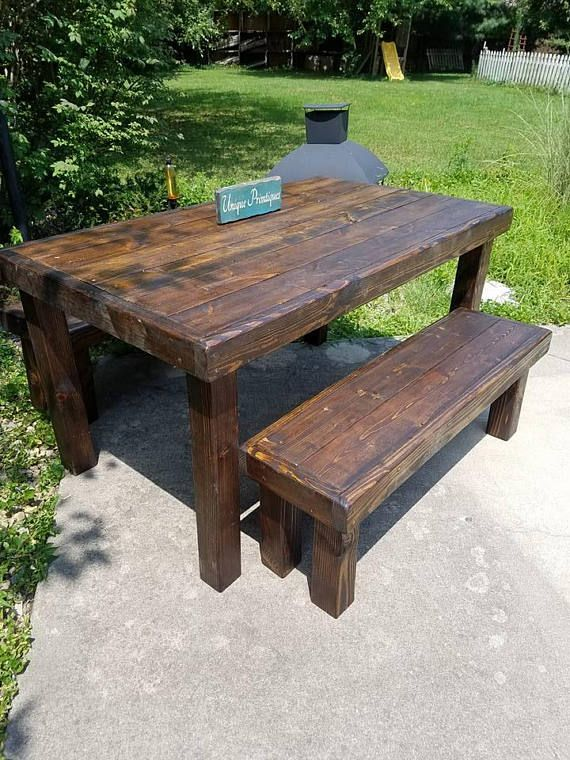 Rustic Solid Reclaimed Wood Table Benches Set Painted Stained