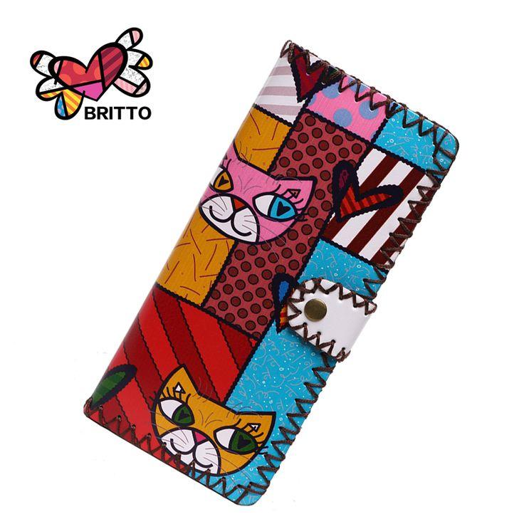 Purchase BRITTO Wallets For Girl's PU Handmade purse Checkbook Card Holder Colored Graffiti Cute Money Bag