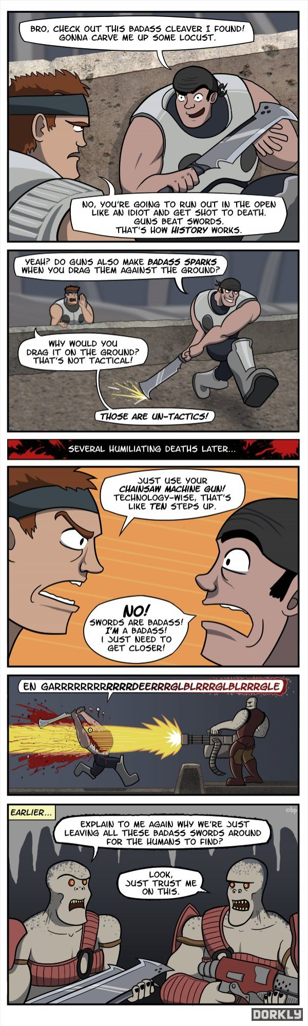 The Problem with Swords in Gears of War 3 - Dorkly Comic