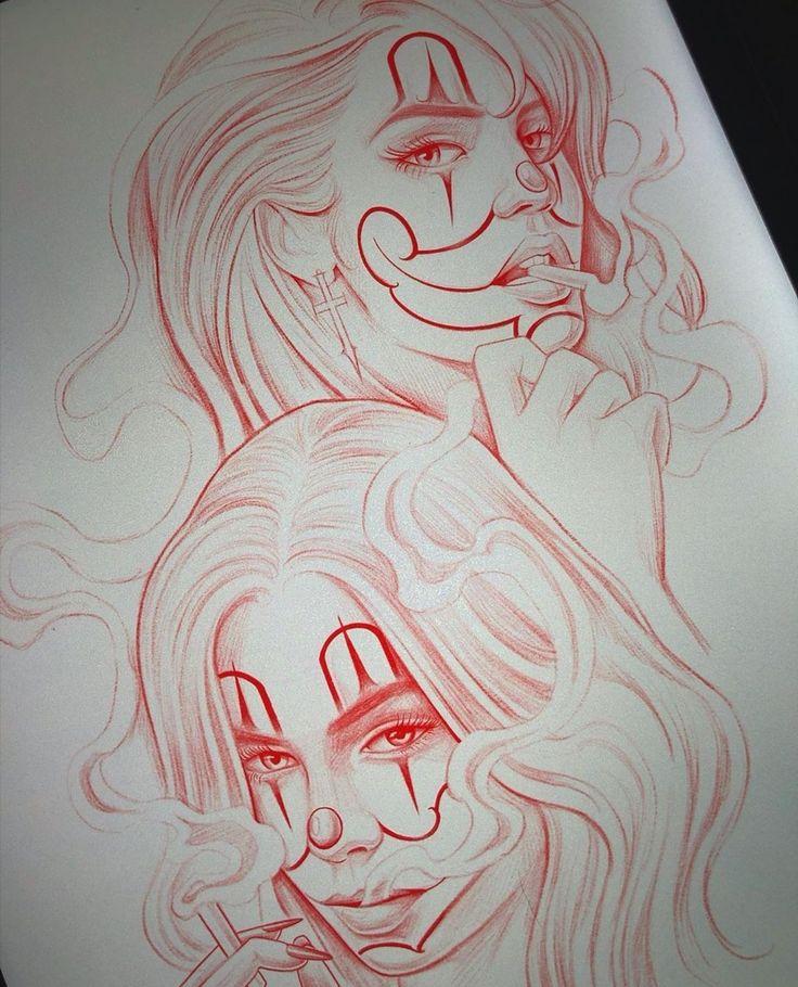 Pin de Lucão Treze em арт Tatuagem de palhaço, Tatuagens
