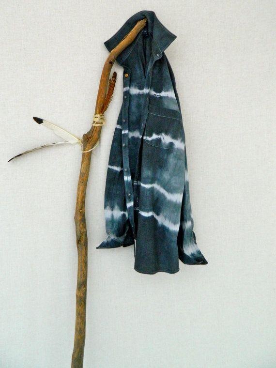 WANDERER . men's tie dye shirt . size 44 ⎜XLarge . upcycled shirt . slate grey . boyfriend shirt . hippy . recycleparty au wandarrah etsyau
