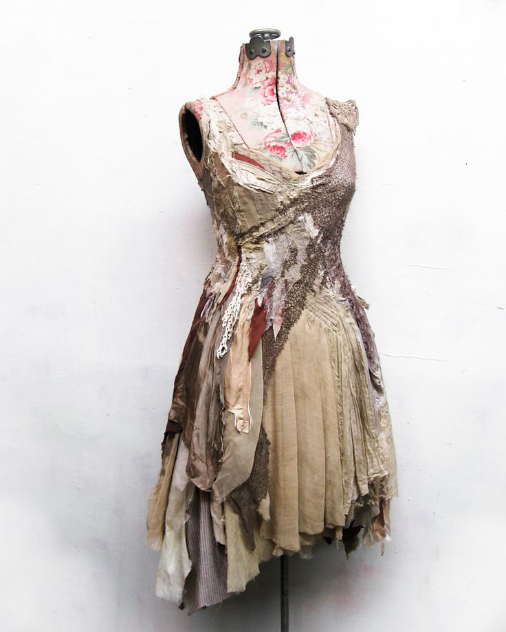 the Alva dress~ of bracken + brier.  made entirely from reclaimed antique remnants. available for adoption in the shop: http://gibbousfashions.com/shop.php