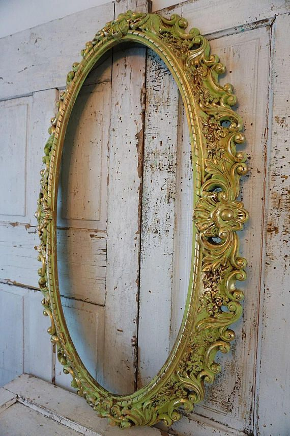 Ornate oval green frame wall hanging shabby cottage chic huge