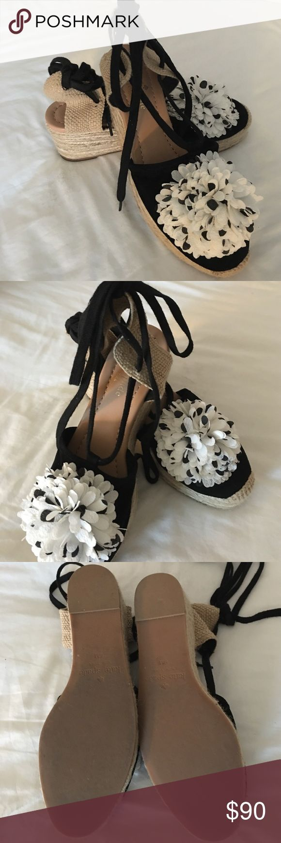 Espadrilles Kate Spade black and white tie ups. Worn twice, they are so cute and comfy! Can be worn with shorts or a dress! kate spade Shoes Espadrilles