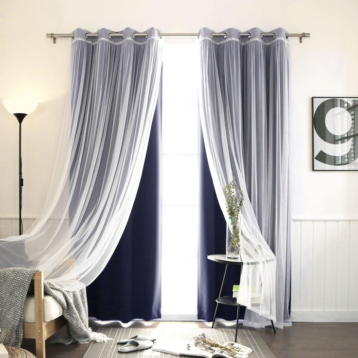 Features:  Set Includes 2 Blackout Curtain Panels And 2 White Sheer Curtain  Panels.