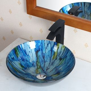 @Overstock.com - Elite Tempered Glass Vessel Sink - Give your bathroom an update, and give it artistic presence with the stunning Elite tempered-glass vessel sink. You may find that you wash your hands more often just to admire this glass sink with its gorgeous, blended blue and green streaks.  http://www.overstock.com/Home-Garden/Elite-Tempered-Glass-Vessel-Sink/7390259/product.html?CID=214117 $116.99