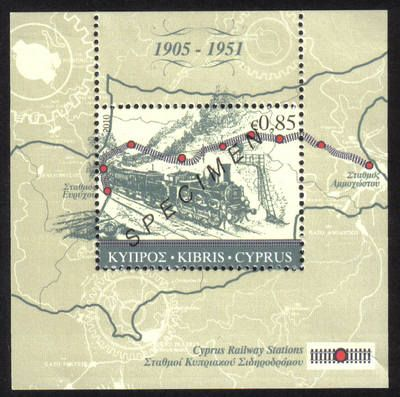 Cyprus Stamps SG 1224 MS 2010    The Cyprus Railway Mini Sheet   Specimen    MINT     A narrow guage railway that originally ran from Nicosia to Famagusta and was eventually extended to Kalo Chorio and Morphou. 1905 - 1951
