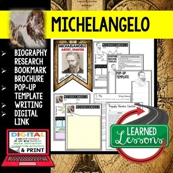Michelangelo Biography Research, Bookmark Brochure, Pop-Up Writing Google