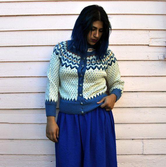 SALE 70s Norwegian Sweater M by WornRaw on Etsy