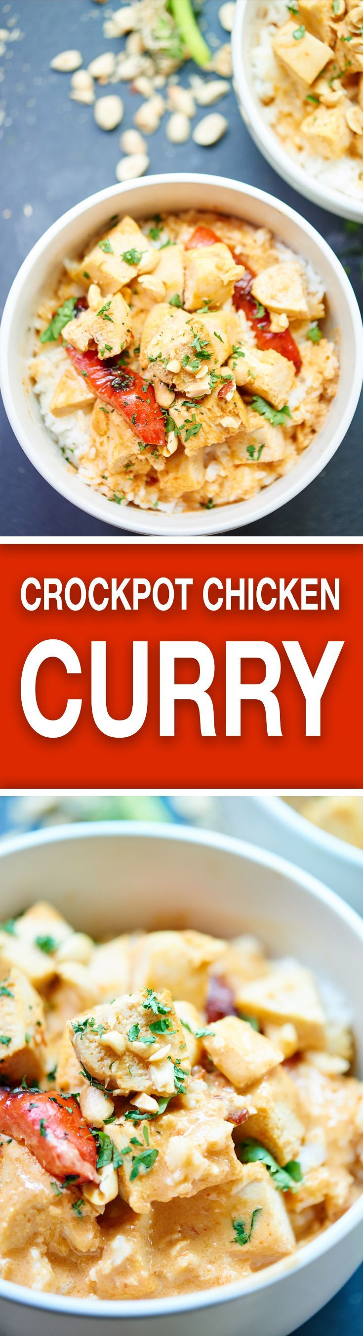 This Crockpot Thai Chicken Curry is healthy, tasty, & only takes one dish & five minutes to put together! 3 hours of cook time & you've got one yummy meal! showmetheyummy.com #crockpot #slowcooker