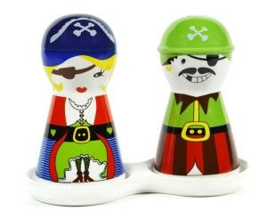 "Pirate Couple Ceramic Salt and Pepper Shakers Set ""Arrrrr me hearty"" be careful any silver on the table will be stolen. http://theceramicchefknives.com/novelty-salt-and-pepper-shakers/ Pirate Couple Ceramic Salt and Pepper Shakers Set"