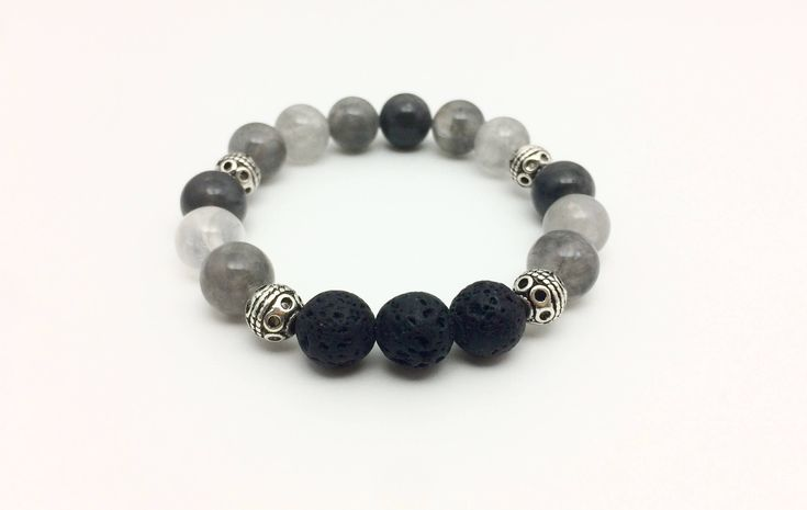 Excited to share the latest addition to my #etsy shop: Grey Quartz Essential Oil Diffuser Bracelet, Aromatherapy Bracelet, Gemstone and Lava Bracelet, Essential Oil Gift, Oil Diffuser Jewelry #jewelry #bracelet