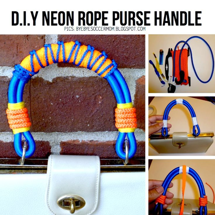 Blogger 'ByeByeSoccerMom' made this awesome DIY Neon Rope Purse Handle. More creative DIY ideas, visit ScrapHacker.com