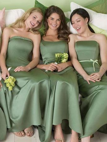green bridesmaid gowns