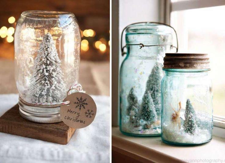 Decorazioni di Natale con barattoli di vetro - Vasi di vetro fai da te