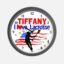 LACROSSE PLAYER Wall Clock Calling all Lacrosse players! Awesome Lacrosse Girl designs on Tees and Gifts. http://www.cafepress.com/sportsstar/13899001 #GirlsLacrosse #Lovelacrosse #Chickswithsticks #LacrosseGirl